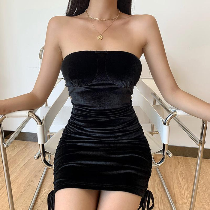 Sexy tube top drawstring dress