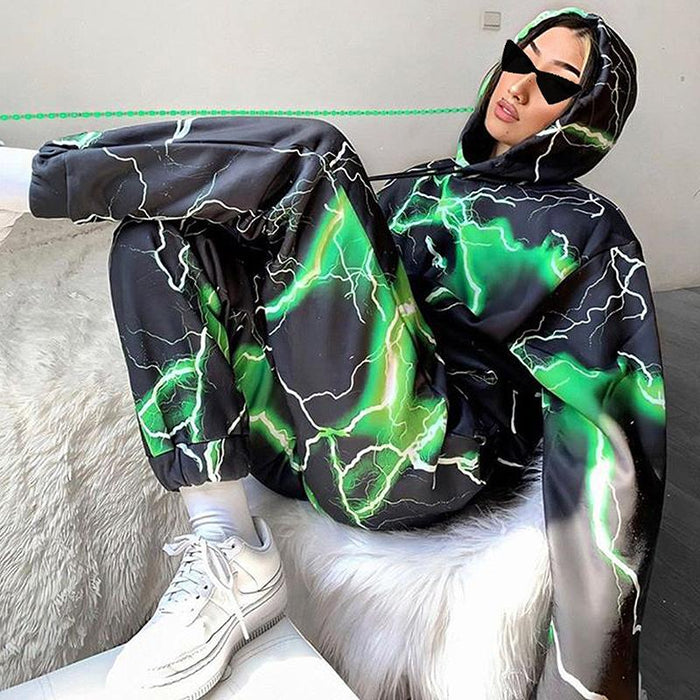 Fashion printed long-sleeved hooded sweatshirt and trousers two-piece suit