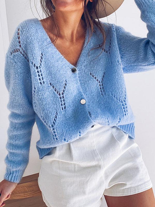 Sexy Hollow V-neck Long Sleeve Casual Cardigan Sweater