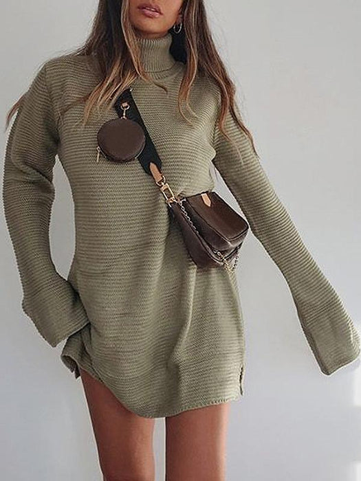Sexy high neck knitted split sweater dress