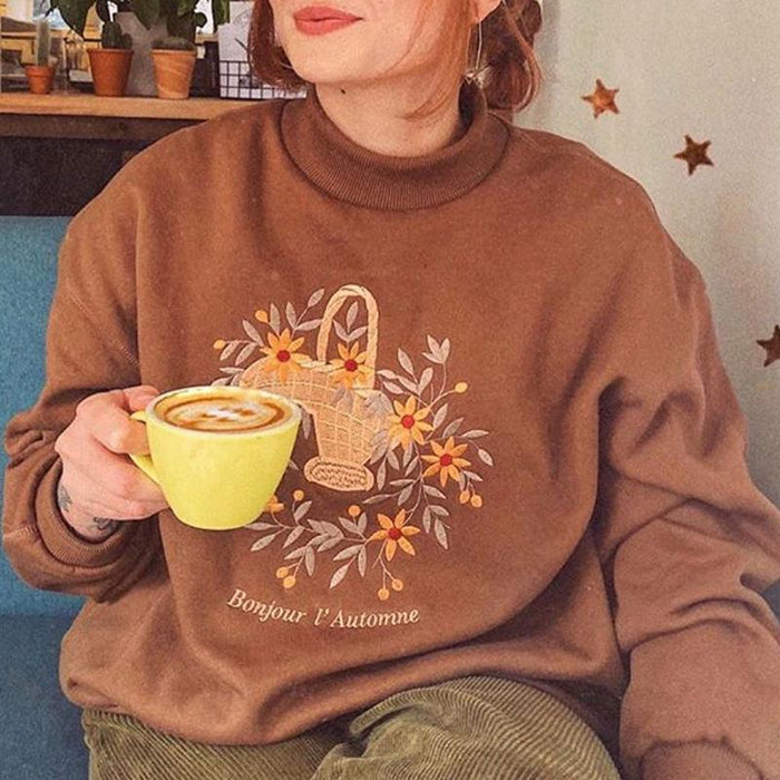 High Neck Long Sleeve Floral Embroidered Oversized Fit Sweatshirt (Brown)