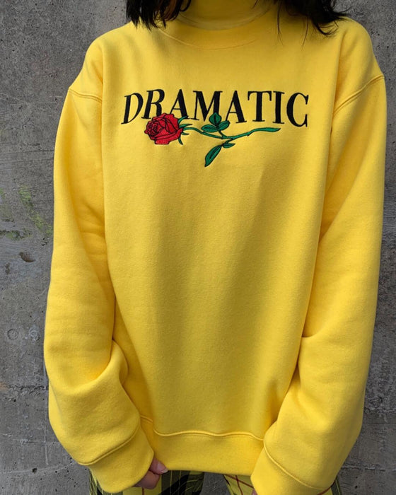 Round Neck Long Sleeve Flowers Embroidered Oversized Fit Sweatshirt(yellow)