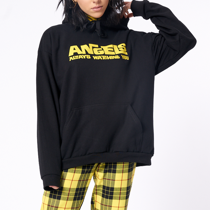 Drawstring hood Angels print Oversized Hoodie(Black )