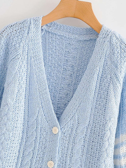 Button Front V-Neck Cable Knit Cardigan