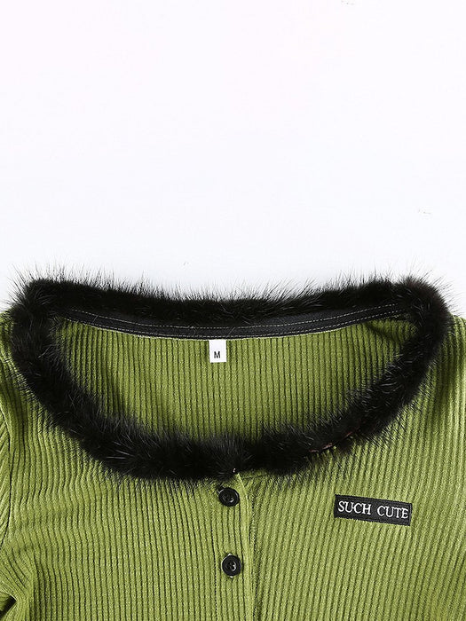 Letter Embroidery Button Up Fur Collar Crop Cardigan