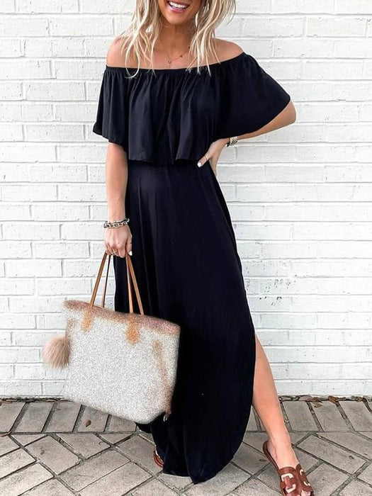 Short Sleeve Off Shoulder Split A-Line High Waist Dress