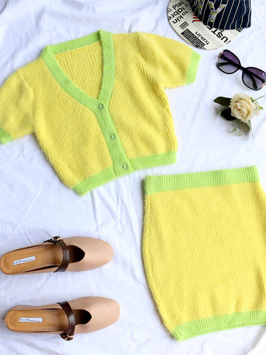 Color Block Fuzzy Open Front Crop Cardigan