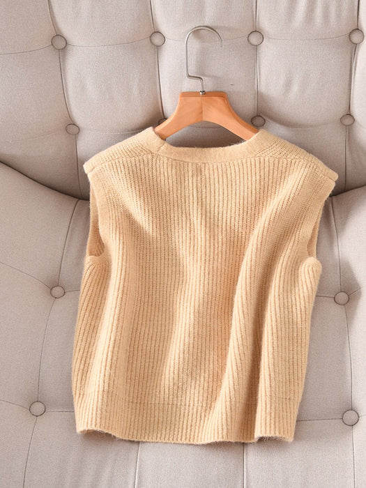 Front Button Knit Sweater Vest