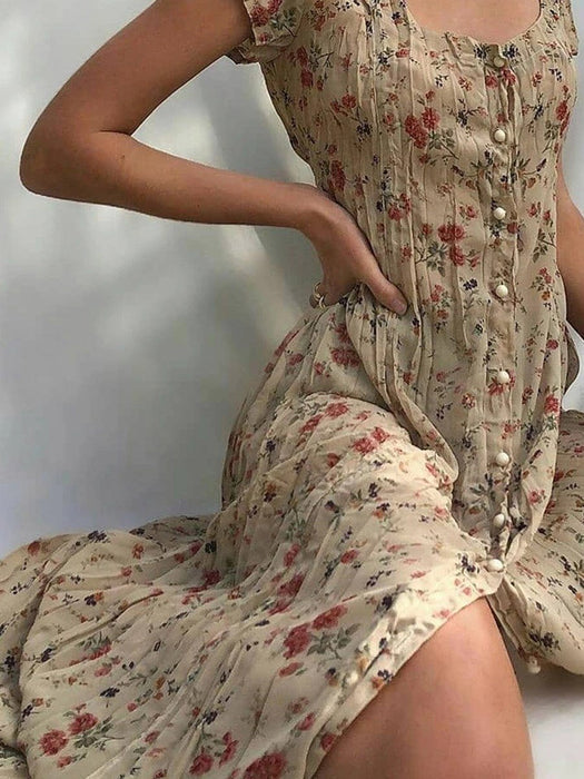 Mid-Calf Print Short Sleeve Floral Single-Breasted Dress