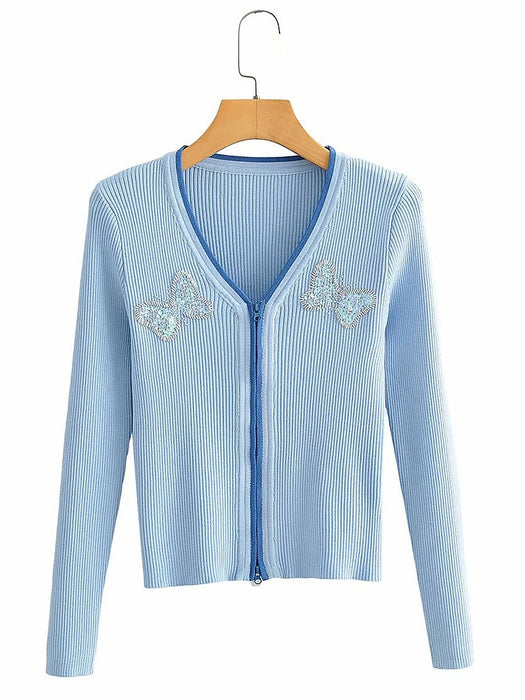 Sequin Butterfly V-Neck Zip Placket Cardigan