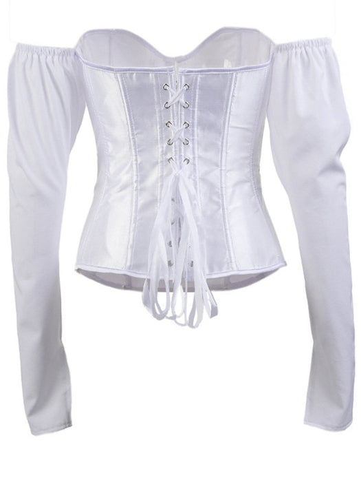 Bell Sleeve Off Shoulder Satin Corset Blouse