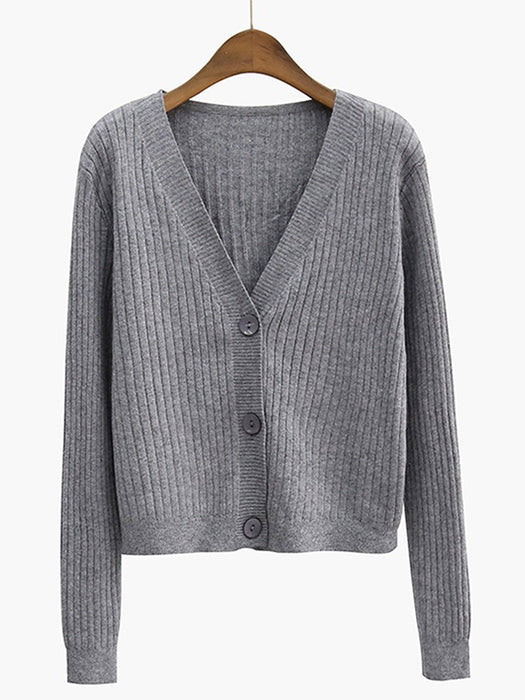 Button Down Rib Knit Cardigan