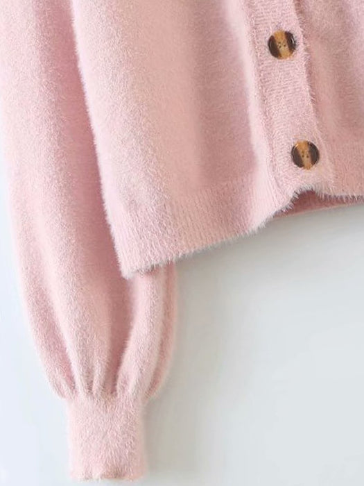 Button Front Fuzzy Knit Cardigan