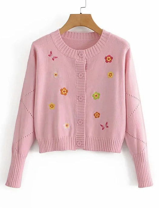 Flower Embroidery Button Front Round Collar Cardigan