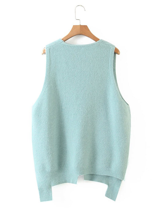 Asymmetrical Hem V-Neck Sweater Vest