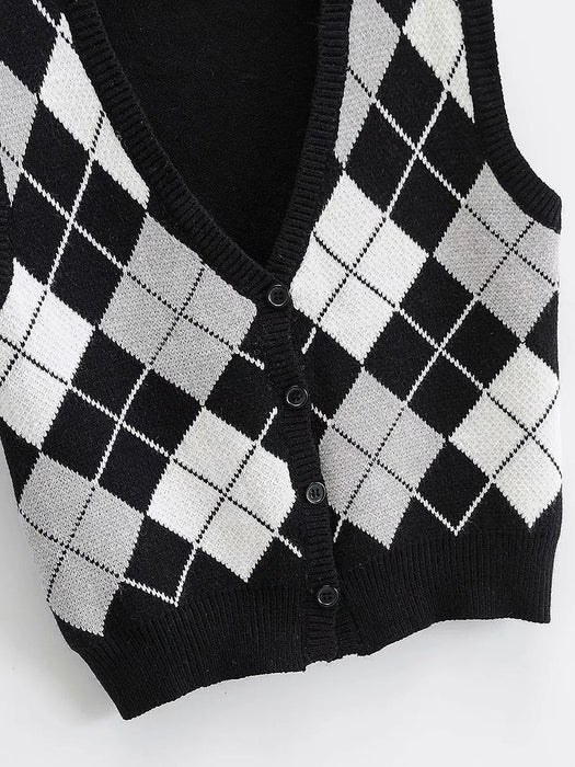 Argyle Pattern Button Front V-Neck Knit Vest
