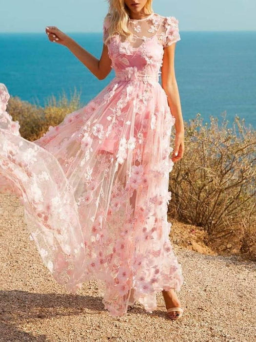 See-Through Short Sleeve Ankle-Length Floral Expansion Dress