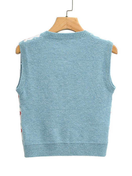 V-Neck Geometry Pattern Sweater Vest
