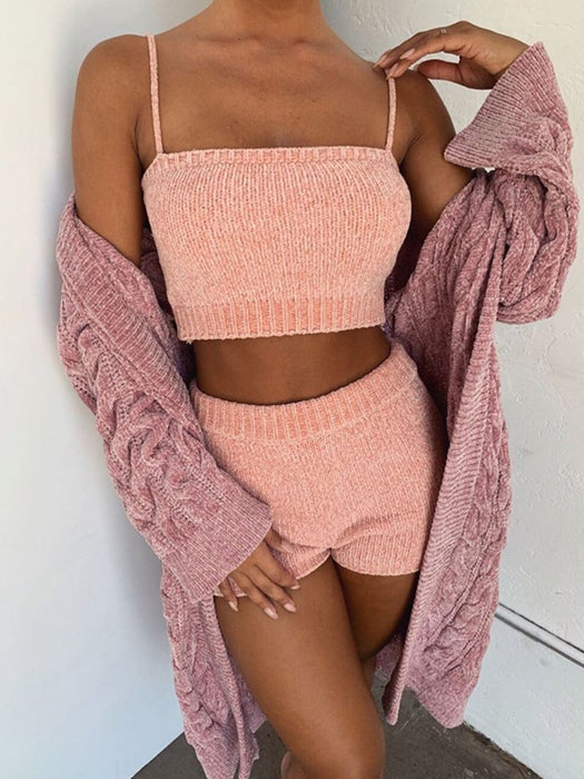 Knitted Sling Top and Shorts Set
