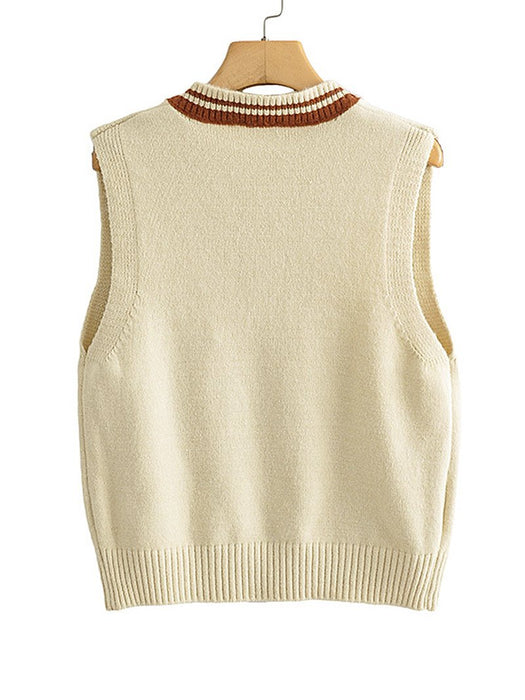 Letter Embroidery V-Neck Sweater Vest