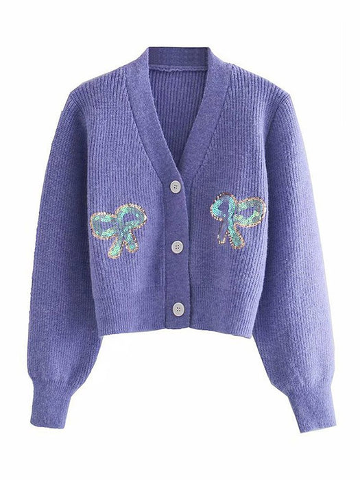 V Neck Sequined Bow Knit Button Front Cardigan