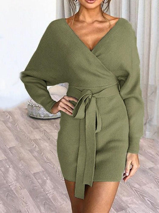 V-Neck Long Sleeve Above Knee Mid Waist Fall Dress