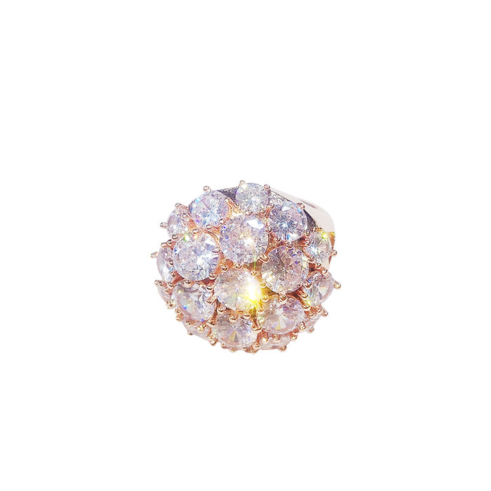 Cialen Flashing round crystal ring hipster ring LACE