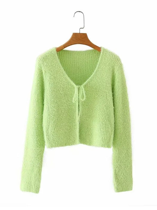 Tie Front V-Neck Long Sleeve Mohair Cardigan