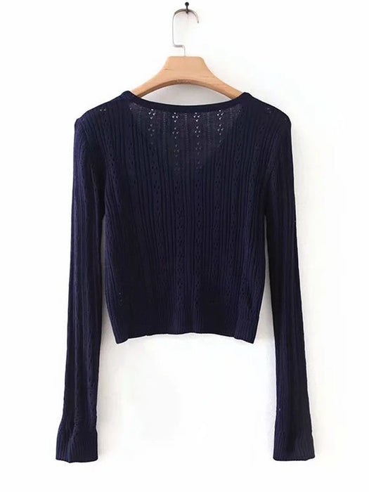 Hollow Out Ribbed Knit Cardigan