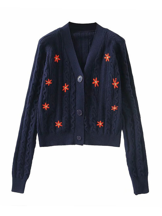 Daisy Embroidery Cable Knit Crop Cardigan