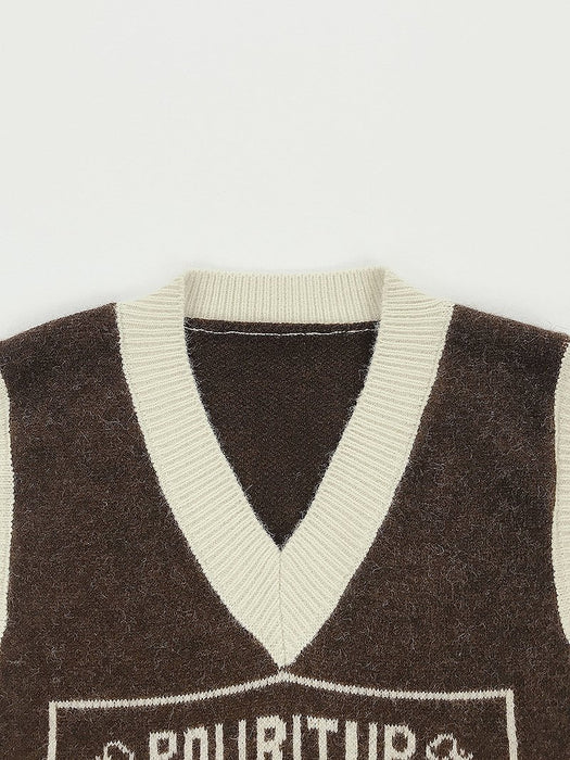 Animal Jacquard Sweater Vest