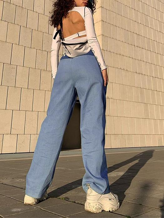 Casual high waist straight leg color block wide leg pants