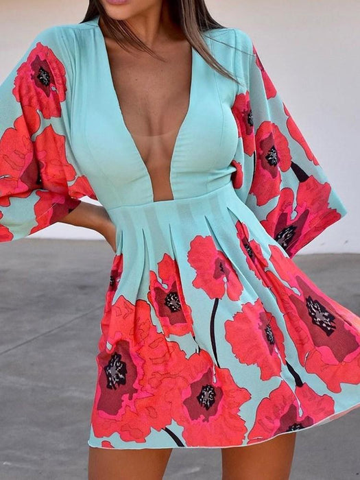 Print Above Knee Three-Quarter Sleeve Floral Pullover Dress