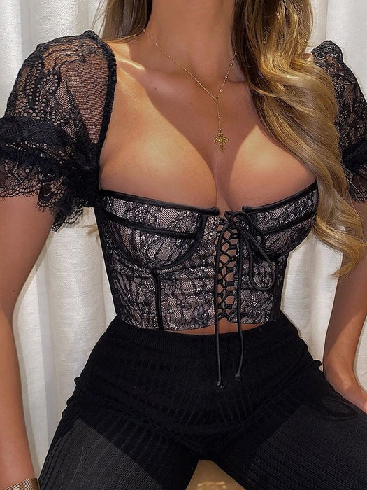 Lace Up Babe Puff Sleeve Corset Top