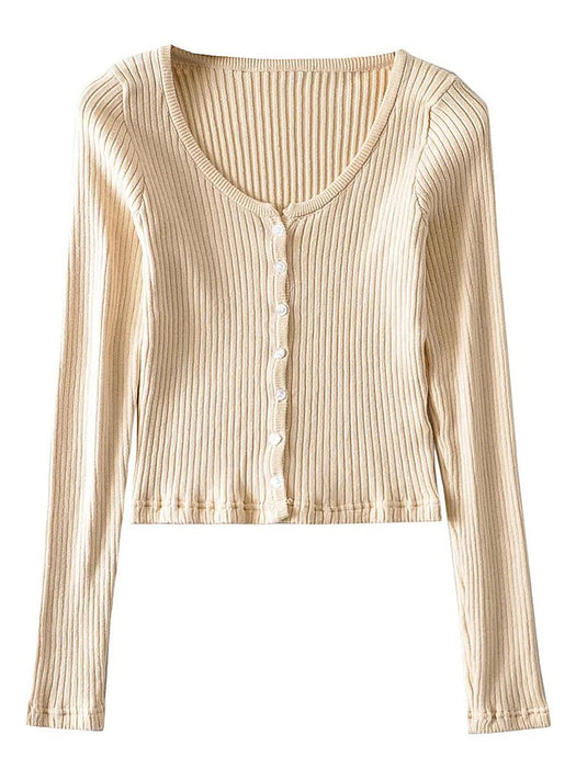 Button Front Ribbed Crop Cardigan Sweater