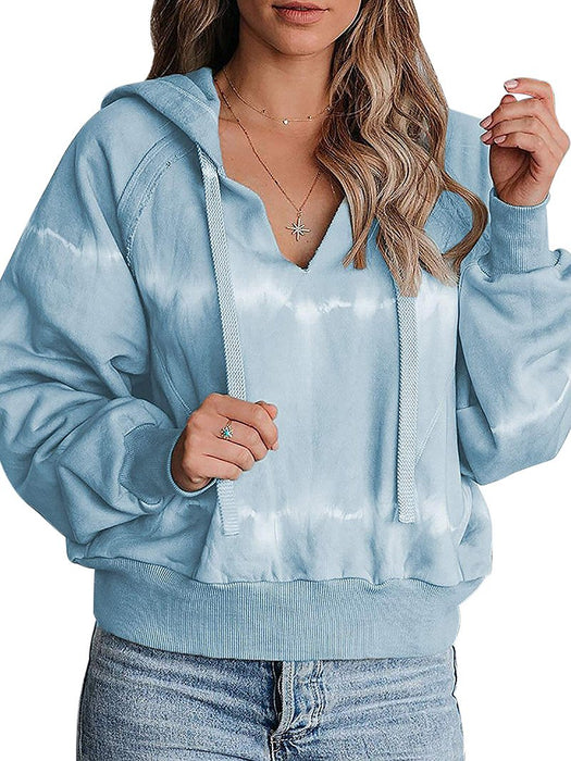 V-Neck Gradient Print Drawstring Hoodies