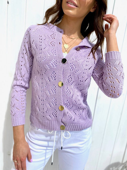 Hollow Out Knit Button Down Cardigan Sweater
