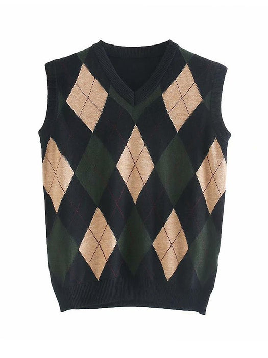 Argyle Pattern V-Neck Sweater Vest