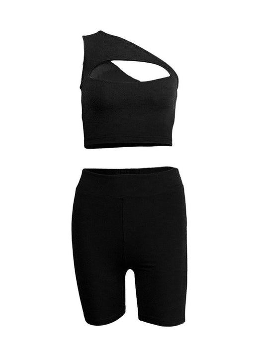 One-shoulder Hollow Vest Five-point Pants Yoga Suit