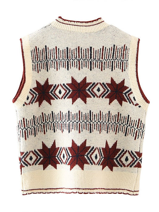 Geometry Pattern Round Collar Vest