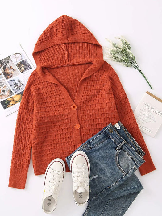Waffle Knit Button Front Hooded Cardigan