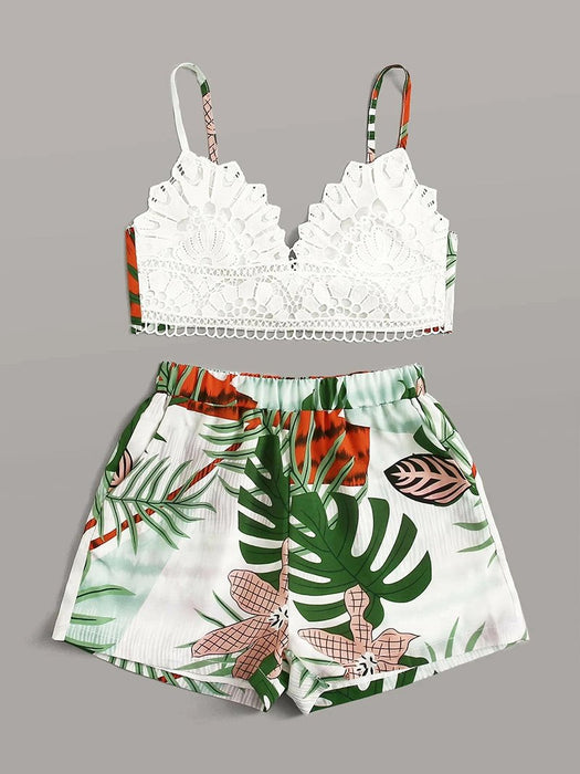Lace Cami Top and Floral Shorts Set