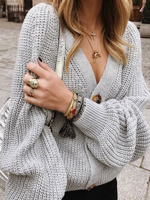 Button Down V Neck Knitted Cardigans