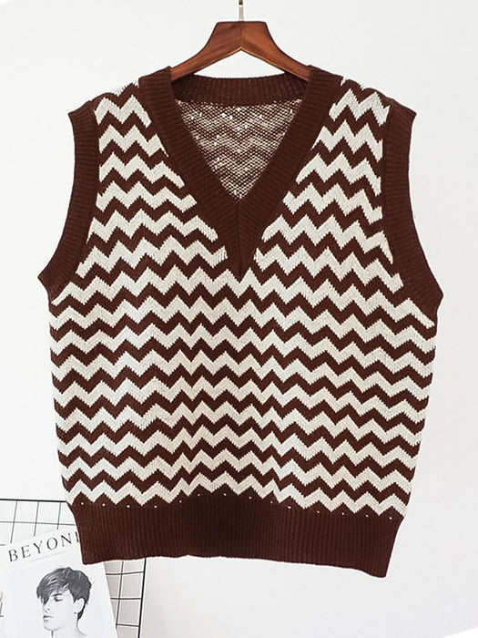 Wave Striped V-Neck Sweater Vest
