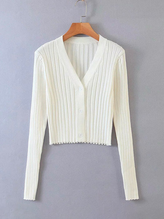 Button Front Wide Rib-Knit Crop Cardigan