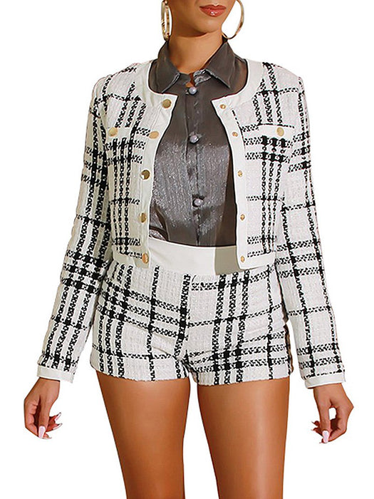 Plaid Woolen Jacket Shorts Coord