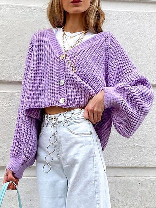Button Front Puff Sleeve Crop Cardigan