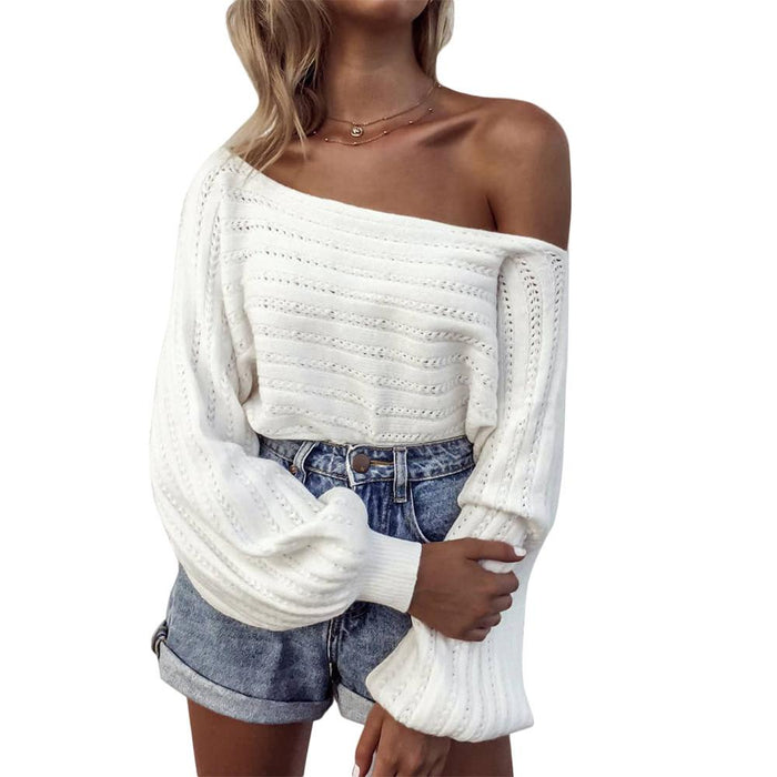 Hollowed-out shoulder knit sweater
