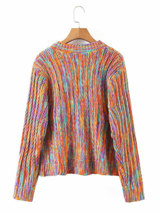 Button Front Round Collar Colorful Cardigan
