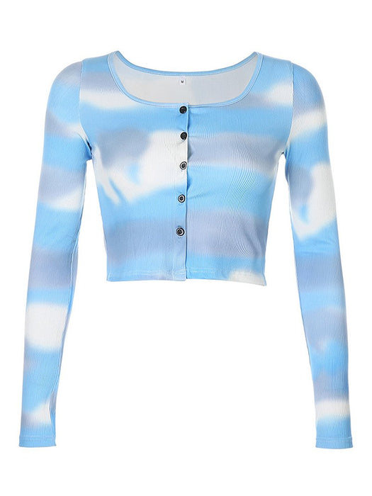 Tie Dye Button Front Long Sleeve Crop Cardigan